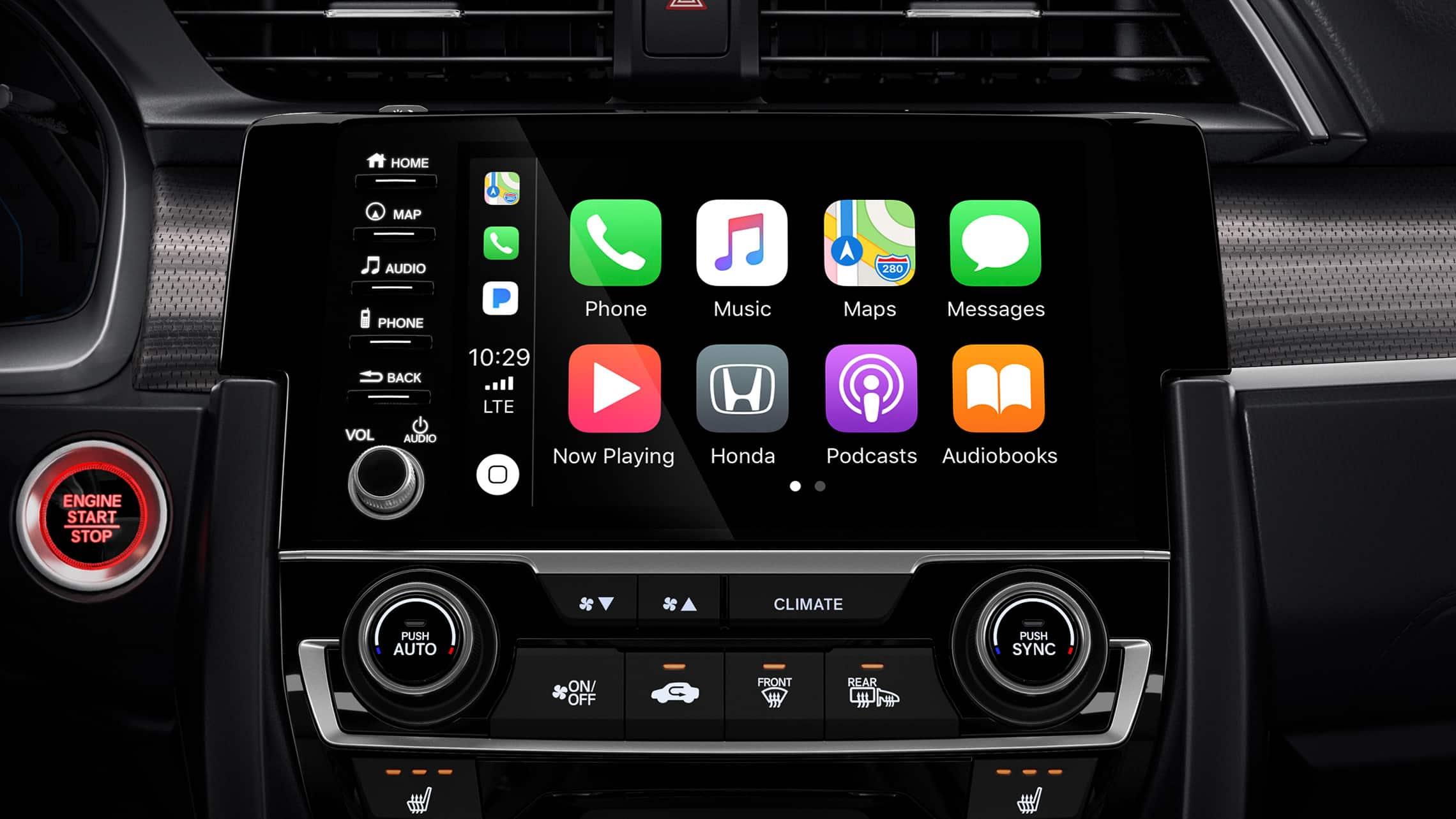 Detalle de la integración con Apple CarPlay® en el sistema de audio en pantalla táctil del Honda Civic Coupé2020.