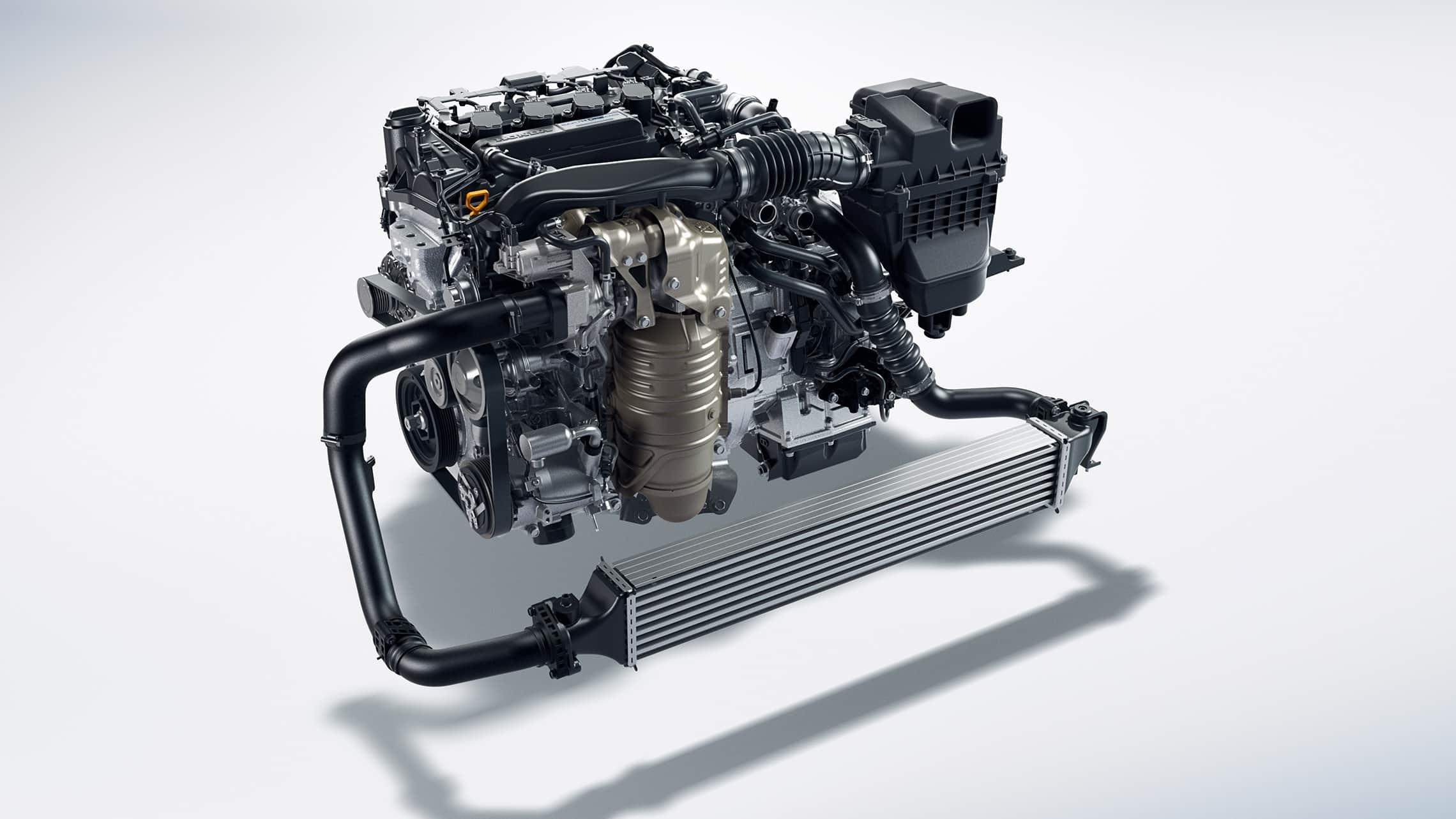 Detalle del motor turboalimentado de 1.5litros en el Honda Civic Coupé2020.