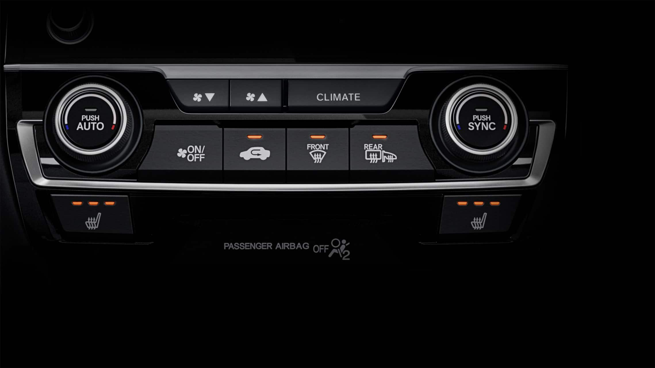 Detail of heated seat controls in 2020 Honda Civic Sport Touring Hatchback.