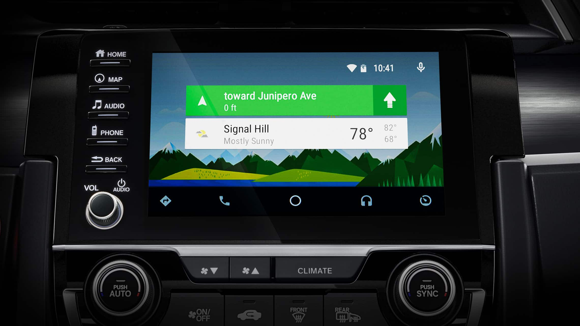 Android Auto™ screen detail on Display Audio touch-screen in 2020 Honda Civic Sport Touring Hatchback.