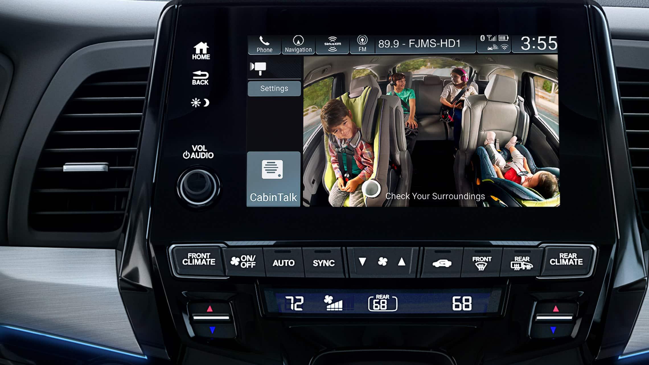 Detalle de CabinWatch® en el sistema de audio en pantalla táctil de la Honda Odyssey Elite2020 con Gray Leather.