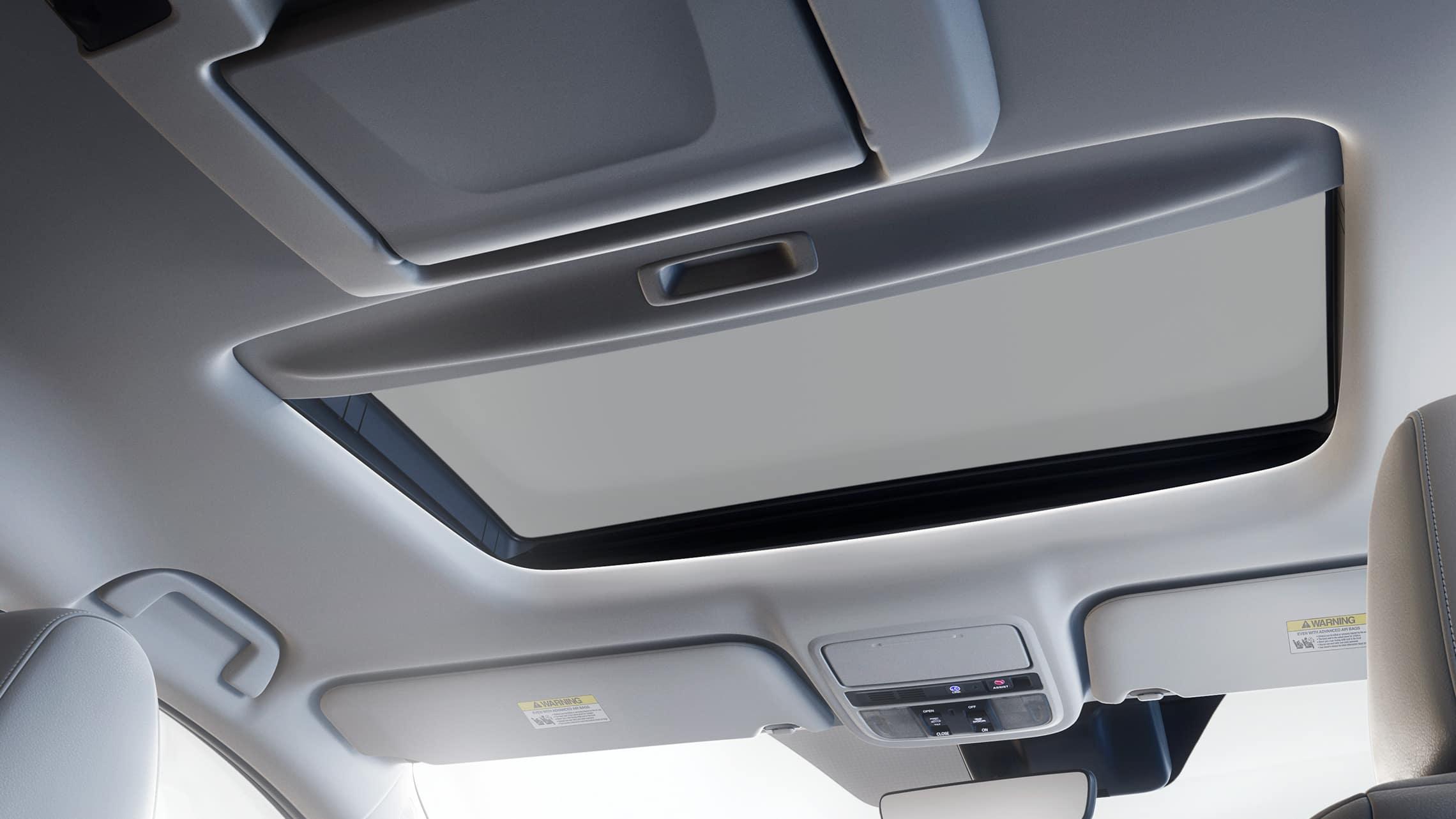 Detalle de techo corredizo eléctrico opcional en la Honda Odyssey Elite2020 con Gray Leather.