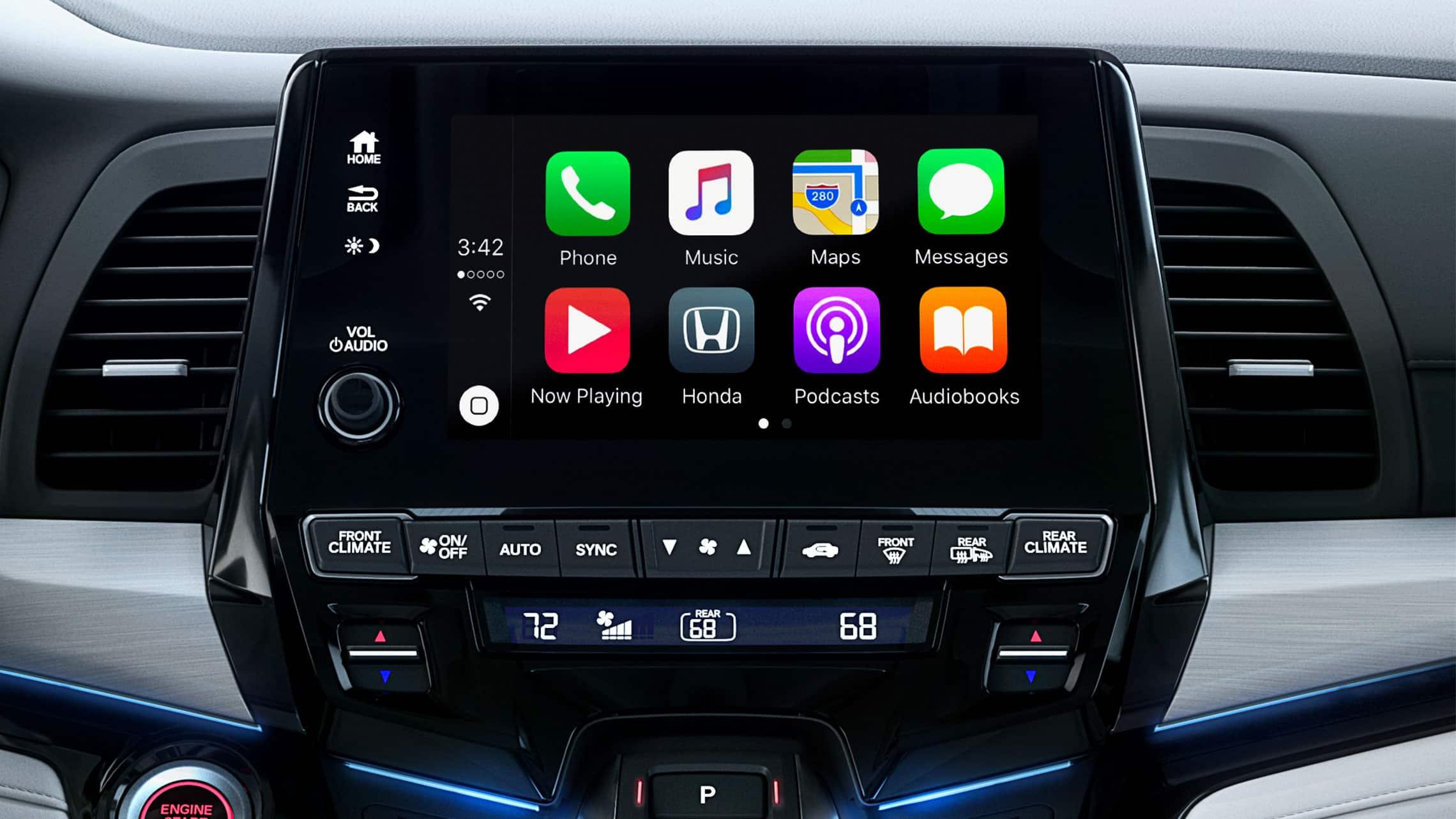 Detalle de Apple CarPlay® en el sistema de audio en pantalla táctil de la Honda Odyssey Elite2020 con Gray Leather.