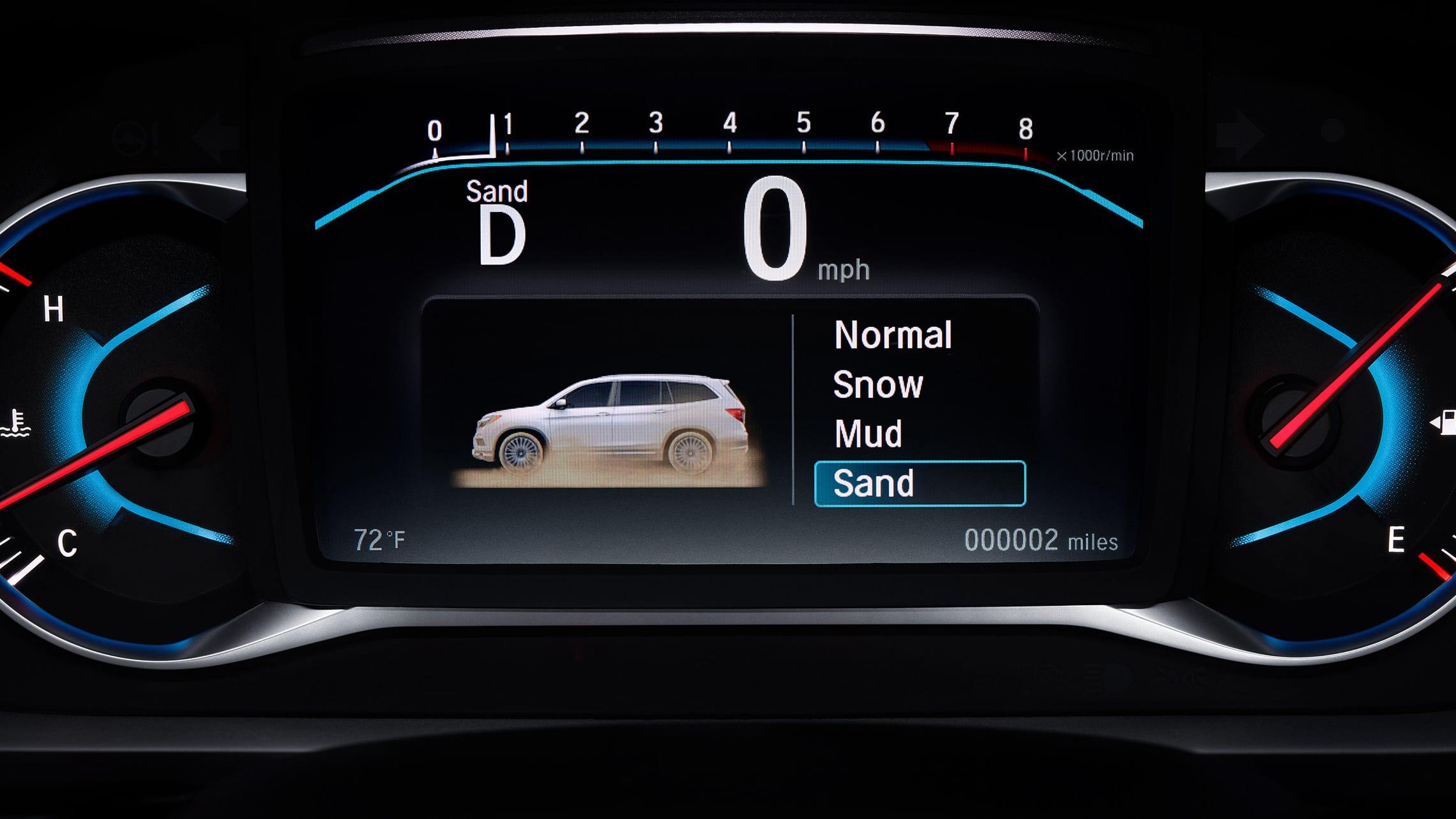 Detalle del control de tracción inteligente en la Honda Pilot2020.